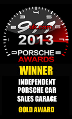 Independent Porsche Car Sales Garage Gold Award 2013