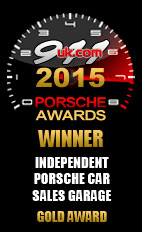 Independent Porsche Car Sales Garage Gold Award 2015