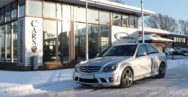 Merc in the snow at Harbour Cars